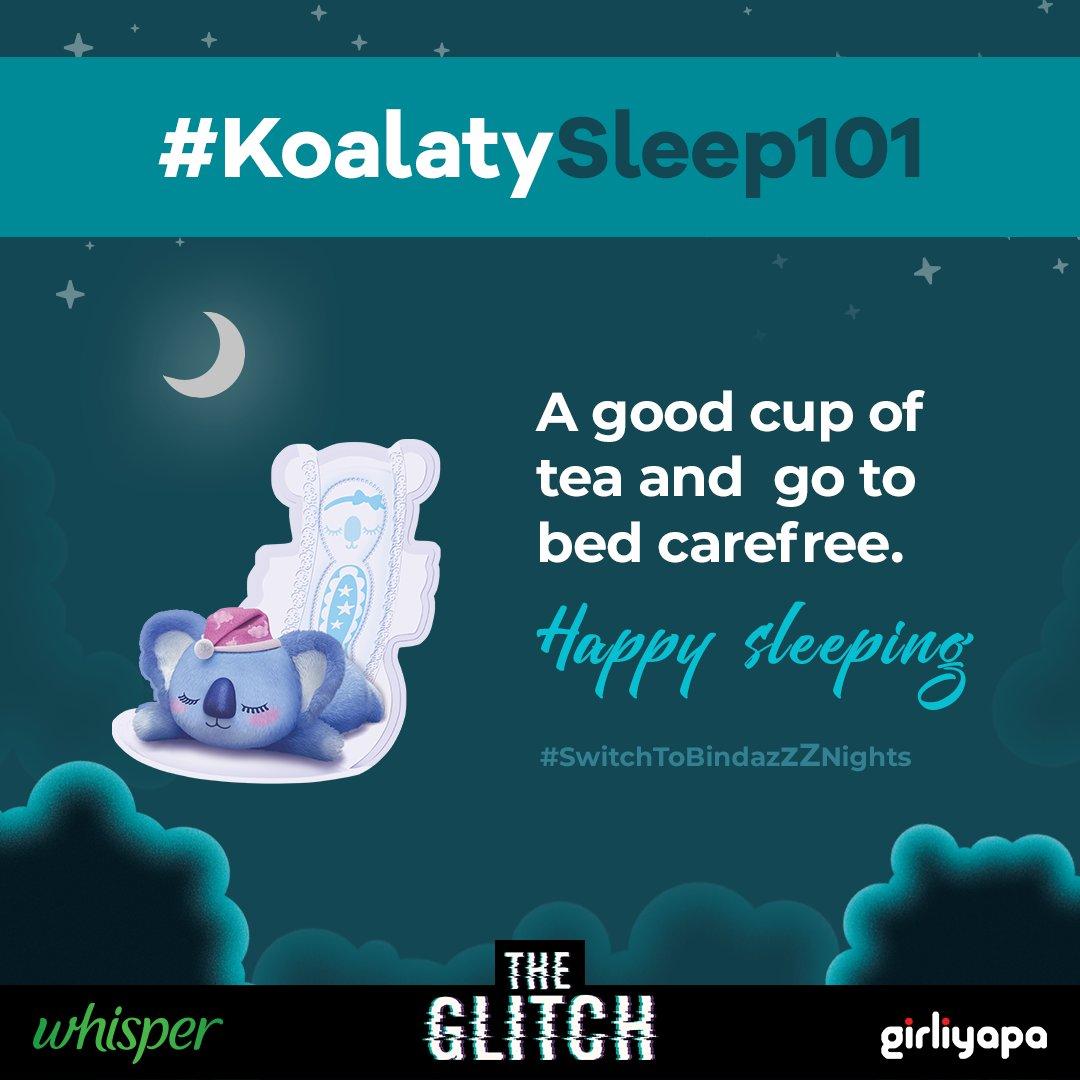 Quality tip for Koalaty sleep. Sleep Bindazzz with Whisper Bindazzz Nights. Enjoy worry free sleep with no leakage ki tension. @WhisperIndia   The Glitch all episodes out. Watch here: https://t.co/LXINQ9rmmC #SleepBindazzz #BindazzzNights #SwitchToBindazzz https://t.co/Tf0cw23FrH