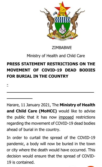 Movement of covid-19 dead bodies for burial in Zimbabwe