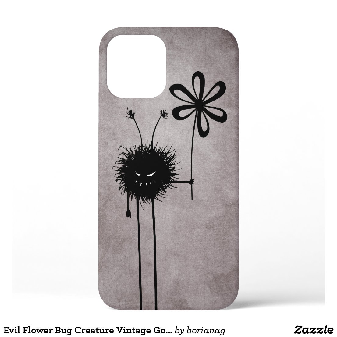 Evil Flower Bug Creature Vintage Gothic iPhone 12 Case    #zazzle #iphonecase #iphone #cases #iphonecases #evil #gothic #goth #character #texture #dark #flower #cool #funny #characters