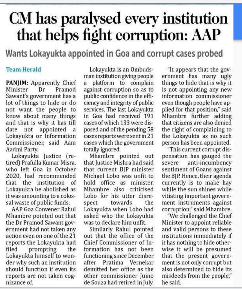 Goa CM is not at all serious about fighting corruption.