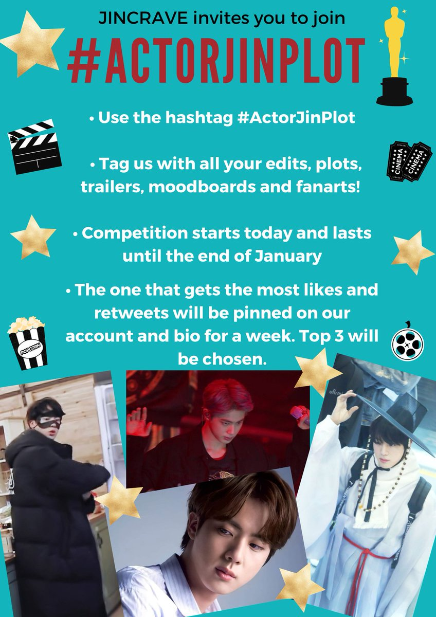 Hi guys We at JC love your Seokjinnie edits & Kdrama plots❤️  We thought of a competition under the ht #ActorJinPlot  Edits,Trailers,Plots,Moodboards are all welcomed! We know how talented you all are! Check details👇🏻   WE ARE EXCITED for all your #ActorJinPlot  @BTS_twt