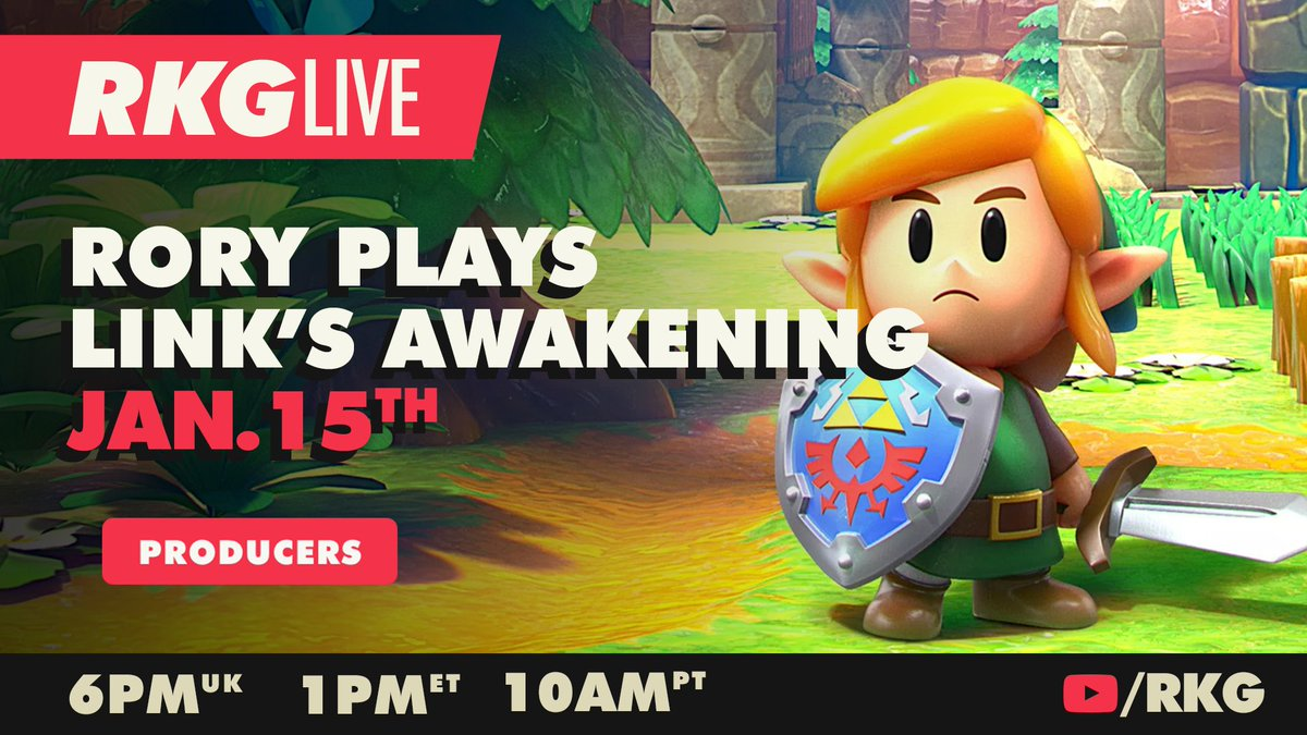 RKG Producers can join Rory this Friday for the first part of his Link's Awakening adventure.   He's never played it before so make sure you tune in for this unfiltered wholesomeness.   📺