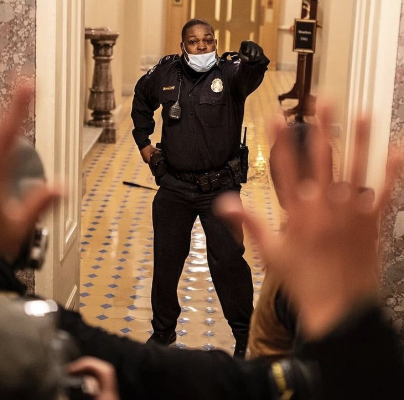 Thank you Eugene Goodman. You are a true hero. I know the #MAGATerrorists were punching the air when they found out a Black man foiled their goal. #eugenegoodman #Capitol #CapitolRiots    #MorningJoe #TedCoup #capitolbreach #CapitalHill #CapitolPolice #DomesticTerrorism