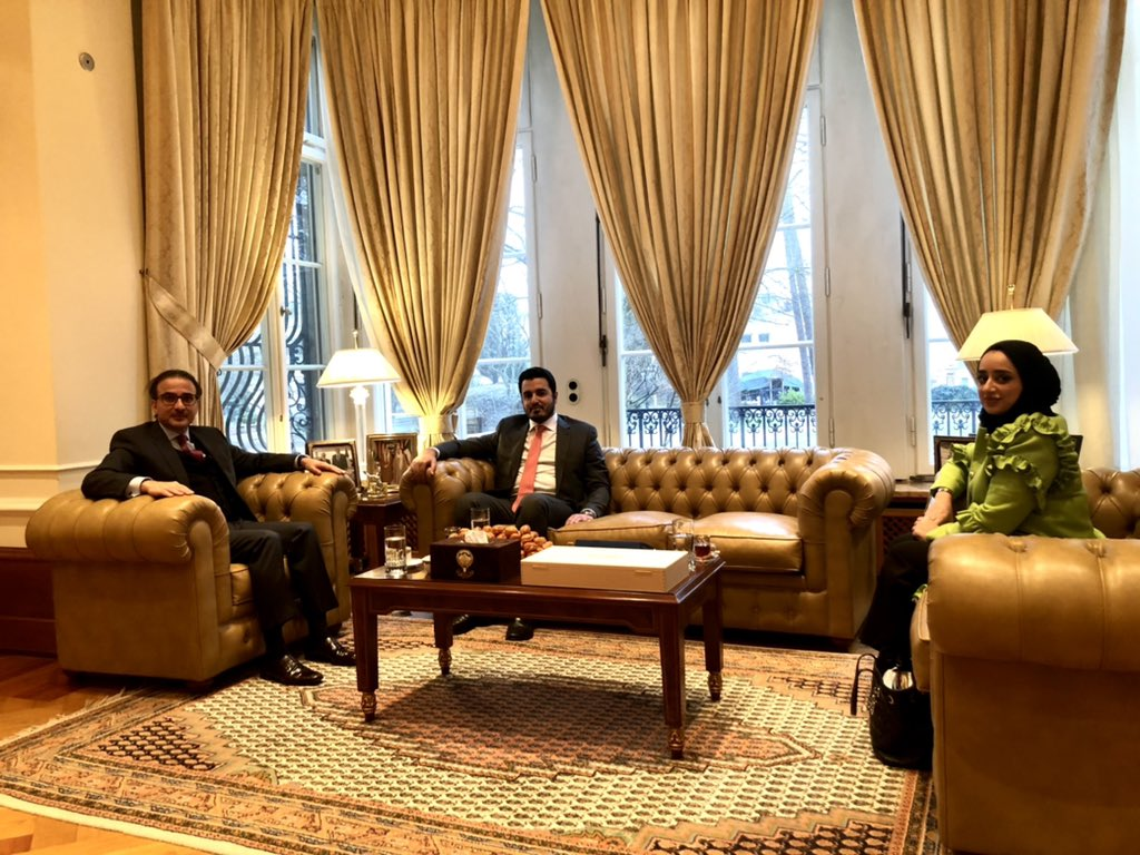 HE  Ambassador Najeeb Abdulrahman Al-Bader welcomed the visit of the new diplomats, who joined the Embassy of the State of #Qatar  in Berlin, to the Embassy of the State of #Kuwait, ​​wishing them continued success.🇰🇼🇶🇦 https://t.co/08DWsC17BH