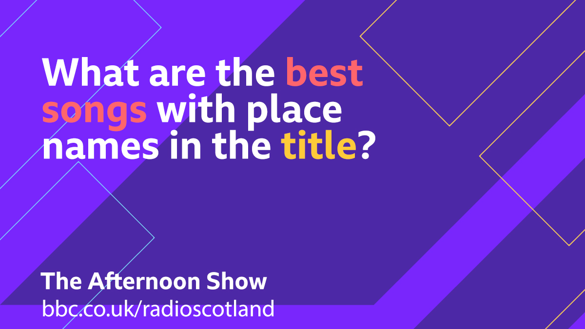 This afternoon we're joined by Sharleen Spiteri for the first Scottish play of @texastheband's new single  So for our Topical Tune today we are looking for the best songs with place names in the title.  #TheAfternoonShow from 13:30 -