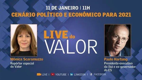 """Logo mais, às 11h, participo da Live: """"Cenário Político e Econômico para 2021"""", do @valoreconomico , com a jornalista Mônica Scaramuzzo. A entrevista será transmitida pelos canais do Valor no YouTube, Facebook e LinkedIn. Até já!  Link:"""