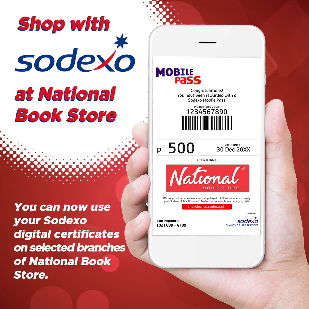 Shop with Sodexo digital certificates at selected NBS branches nationwide!  📍Alabang Town Center 📍Festival Mall 📍Glorietta 1 📍Shangri-La Plaza 📍SM Aura Premier 📍SM Mall of Asia 📍SM Megamall 📍SM North EDSA 📍SM Southmall 📍Trinoma  #Sodexo #NBSnews #NBSeveryday