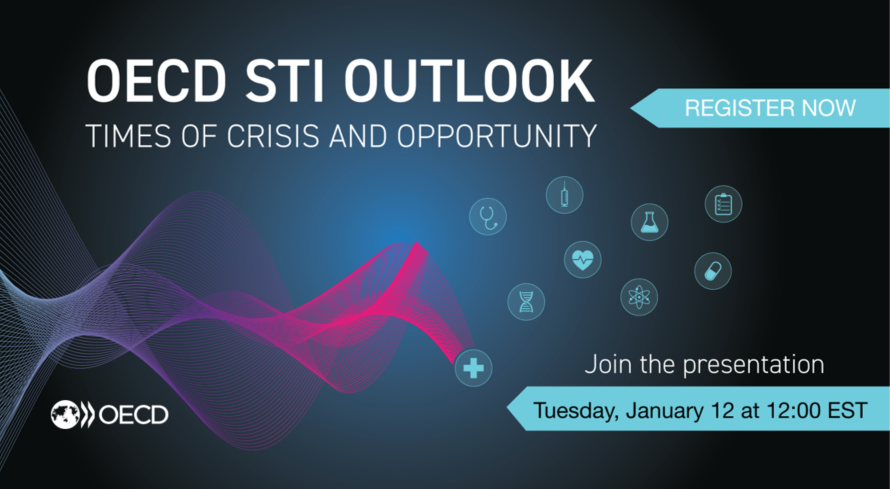 Join us Tuesday at 18:00 CET (noon EST) as we launch the @OECD Science, Technology and Innovation Outlook 2021.  Register to watch our webinar on how research & innovation systems have responded to #COVID19 and the challenges that lie ahead ▶️ https://t.co/xAAwOaeiIt  #OECDSTIO https://t.co/CFDNcHAblO