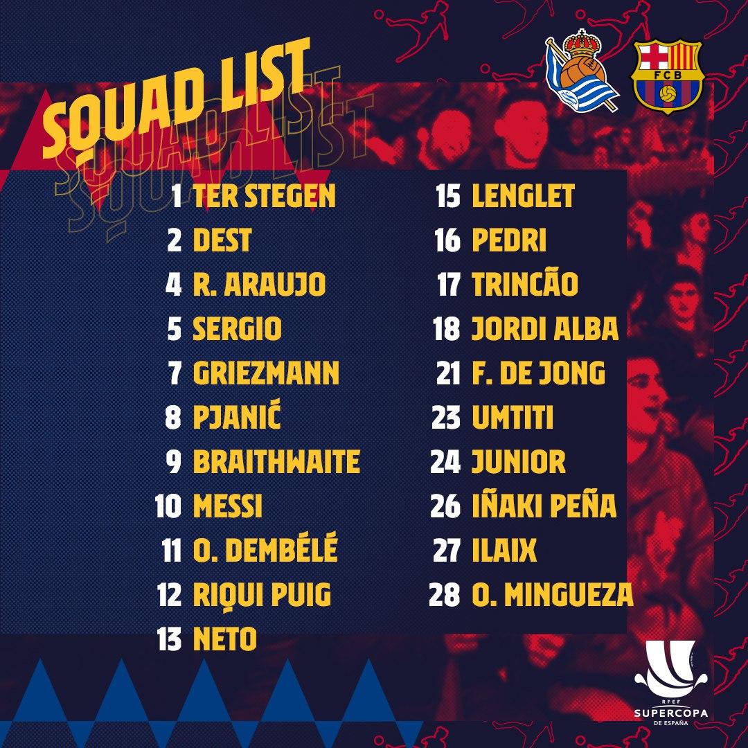👉  👈 RT @FCBarcelona The Squad for the #SuperCopaBarça! 💪🟦🟥