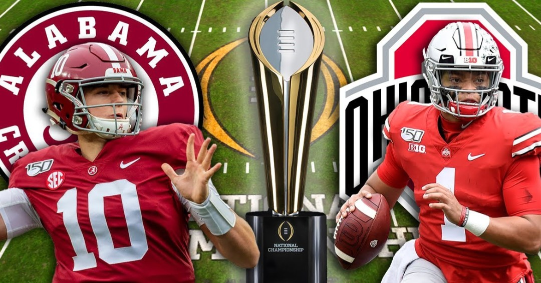 The Buckeyes and Crimson Tide meet in the college football national championship from Hard Rock Stadium at 8PM(et).Ohio State look to finish the year with an 8-0 record while winning their ninth national title. Alabama  look to finish 13-0 & 18th national title in school history.