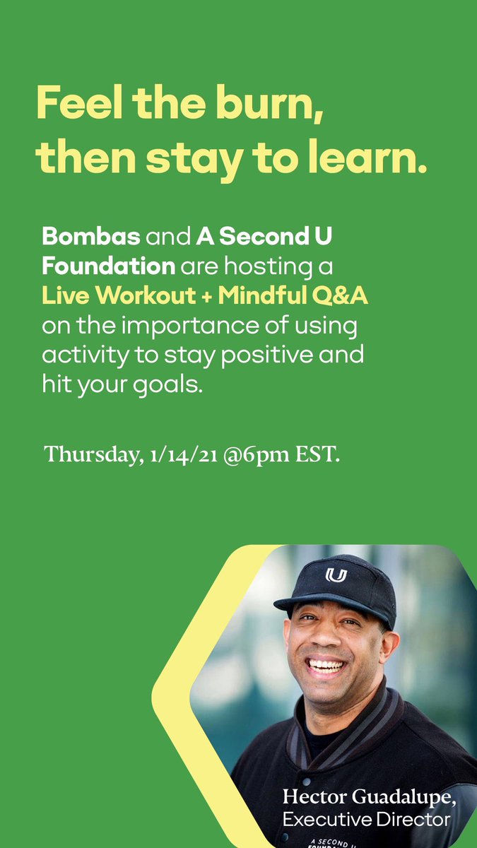 LET'S TAKE A POSITIVE TURN IN 2021 THIS THURSDAY WITH @BOMBAS & A SECOND U FOUNDATION AS WE HOST A 30 MIN WORKOUT, AS WELL AS A PANEL DISCUSSION ON HOMELESSNESS, INCARCERATION, AND THE IMPORTANCE OF COMMUNITY. . .
