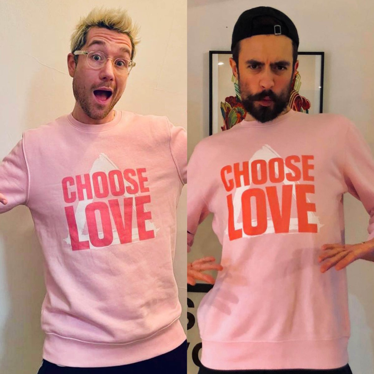 Limited edition Choose Love sweatshirts designed for us by our phenomenal friend @bastilledan - 100% of profits from these organic cotton sweatshirts support refugee projects around the world.     Modelled by the stunning @Kyle_JSimmons and @bastilledan.