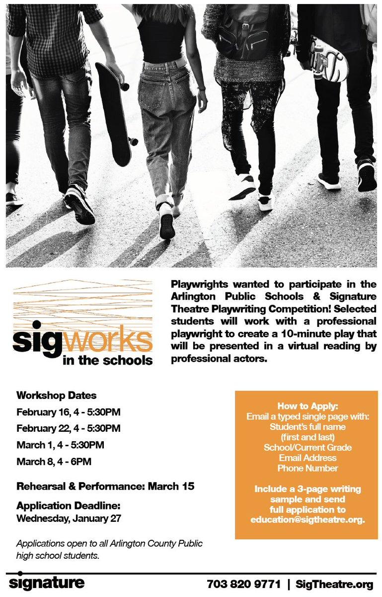 High School Dramatiker zur Teilnahme an der APS & Signature Theatre Playwriting Wettbewerb! Die Schüler arbeiten mit der professionellen Dramatikerin Mary Hall Surface ( https://t.co/aPIngYaO8L ) zusammen, um ein 8-minütiges Stück zu erstellen, das von professionellen Schauspielern in einer virtuellen Lesung präsentiert wird! https://t.co/lM10pv8zr2m
