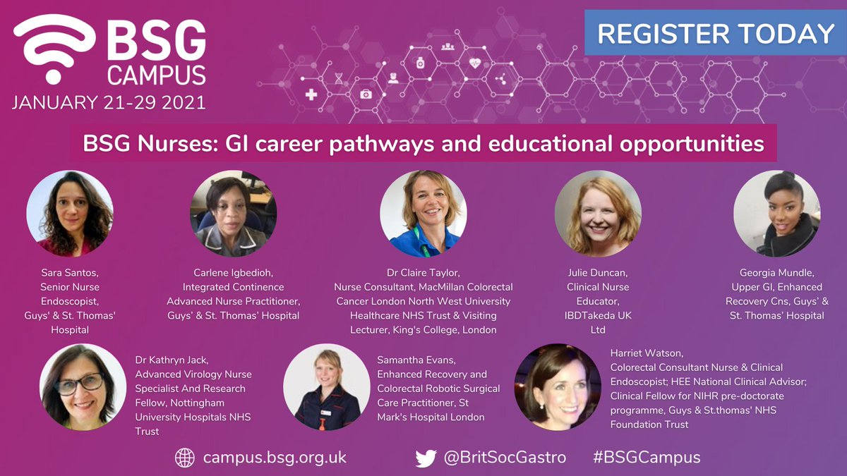 Join @BSGNurses at #BSGCampus on Monday 25th January from 6pm to hear about #nurse GI career pathways and education opportunities from experienced nurses! Sign up today:  #gastroenterology