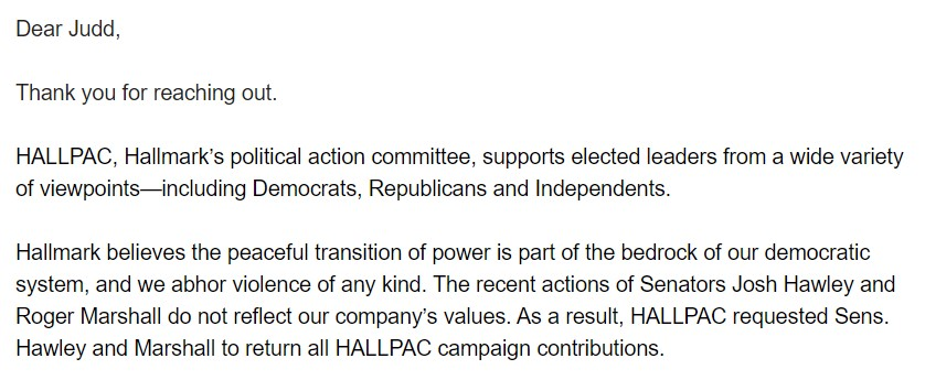 BREAKING: @Hallmark, which donated $3,000 to @HawleyMO and $5,000 to @RogerMarshallMD is demanding its money back.