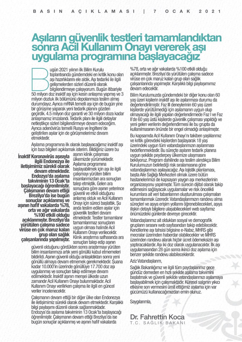 Aşı süreci 👇🏾 7 ocakta yayınlanmış Basın açıklaması Teşekkürler sayın @drfahrettinkoca