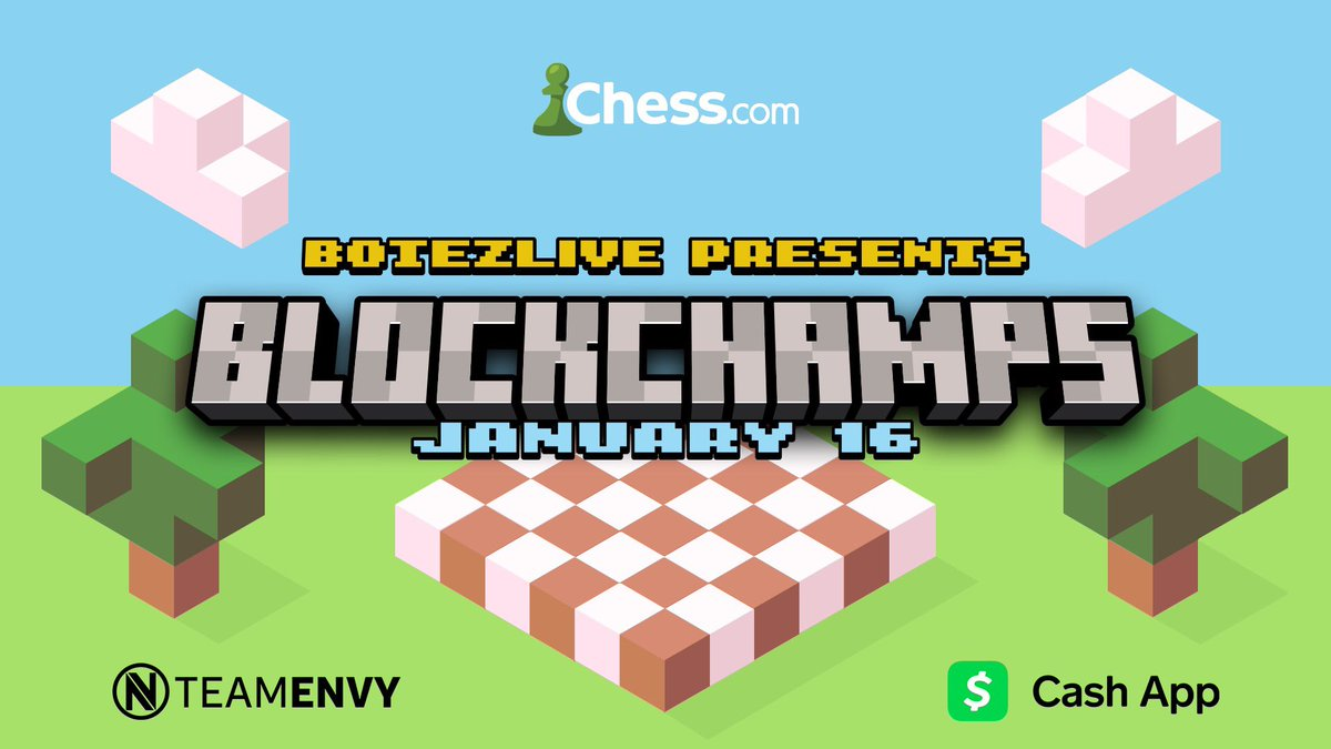 BLOCKCHAMPS THIS SATURDAY! Which Minecrafter will emerge as the best chess player? $25k prize fund.  @pokimanelol  @WilburSoot  @GeorgeNotFound  @LilyPichu  @FundyLive  @sapnap  @TubboLive  @Nihaachu                                               #blockchamps