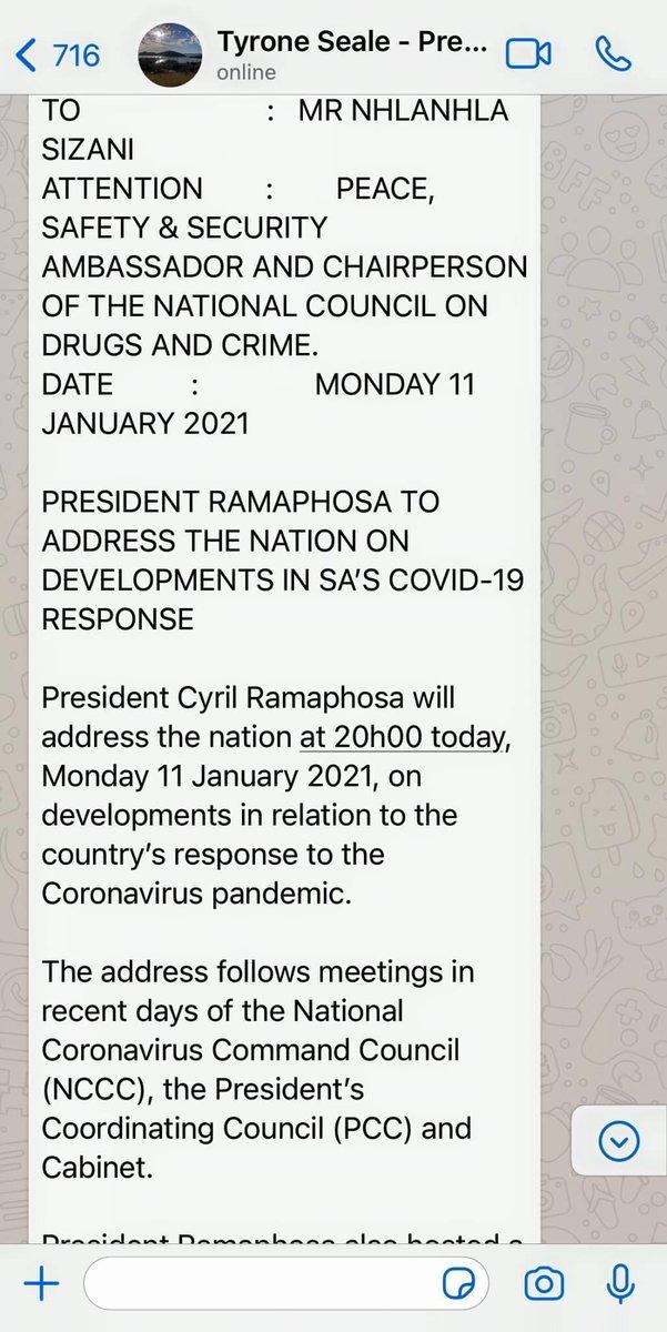 #FamilyMeeting: President Cyril Ramaphosa will address the nation at 20h00 tonight. #LockdownSA https://t.co/SLZgoVOrD4