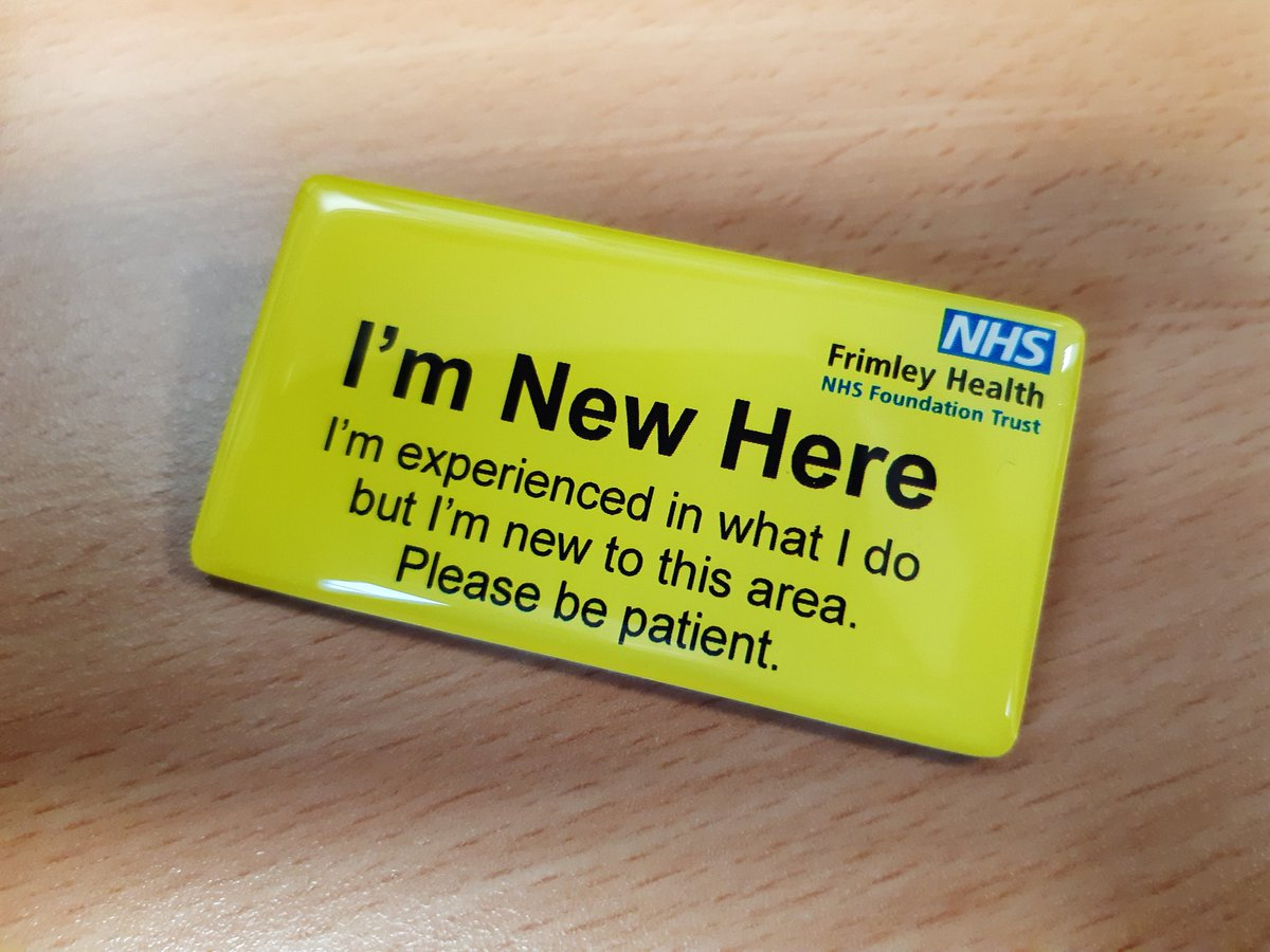 """A request came in last week for some""""im new here"""" badges. Today the team started delivering them to wards for staff who have been redeployed or volunteered for new roles #FutureFHFT #ContinuousImprovement"""