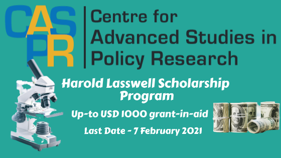 Harold Lasswell Scholarship Program, Up to 1000 $ grant, CASPR India