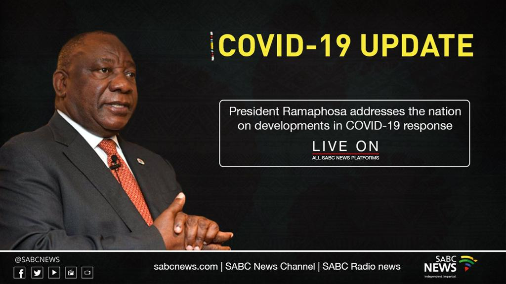🚨 President Cyril Ramaphosa will be addressing the nation tonight at 8PM   Catch the address live on our Facebook & YouTube page  #Covid19InSA #COVID19 https://t.co/8FSphOwY7B