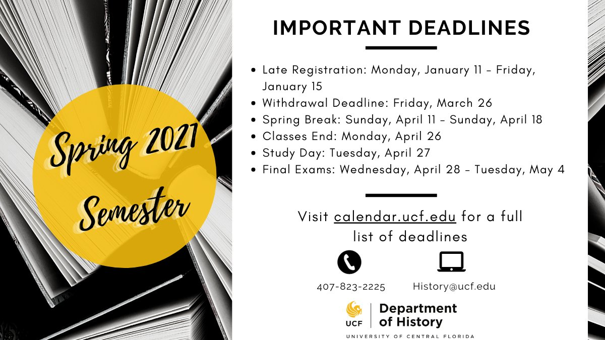 Ucf Calendar Spring 2021 UCF Department of History (@UCF_History) | Twitter