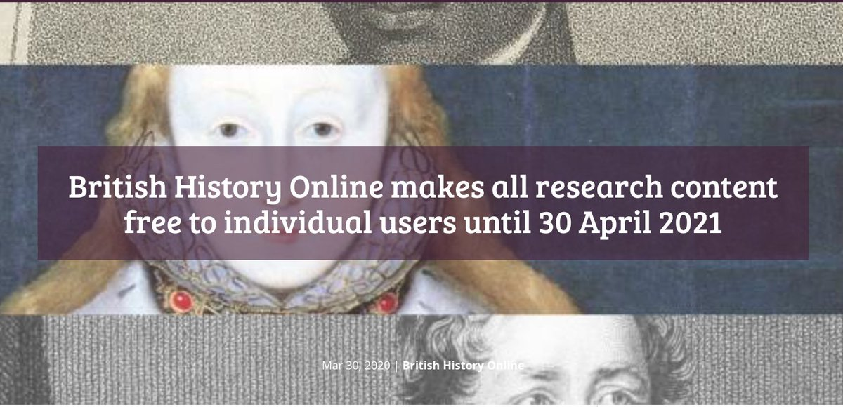 From today, all Premium Content on British History Online is free to individual users. Thats 200 extra vols of primary research materials. Access runs to 30 Apr 2021: details here wp.me/p9UV2g-3y3 @bho_history hope this helps at a tough time. Please r/t #twitterstorians