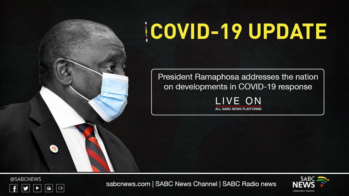 President Cyril Ramaphosa to address the nation on developments in COVID-19 response this evening 11 January 2021 tentatively at 20:00. #Covid19SA #Level3SALockdown   Live Stream: https://t.co/ofHWHZ2gY7 https://t.co/S1N50xzPB2