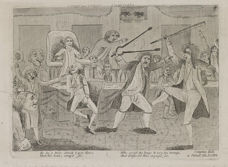 This 1798 cartoon depicts fighting in Philadelphia's Congress Hall between Congressman Matthew Lyon and Roger Griswold. An insulting reference to Lyon by Griswold triggered the spat. (Library of Congress)