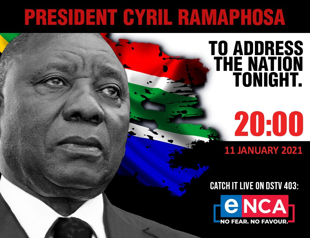 [BREAKING NEWS] President Cyril Ramaphosa will address the nation at 20h00 tonight https://t.co/wBYcATGiCf