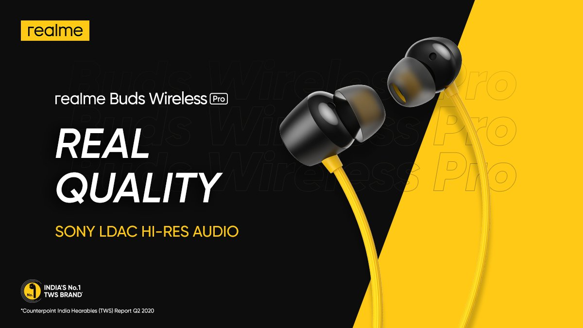 Indulge in a richer and detailed listening experience with #realmeBudsWirelessPro featuring Sony LDAC Hi-Res Audio Technology. Time to turn the #NoiseOffMusicOn!  Available on  and @amazonIN. Buy now: