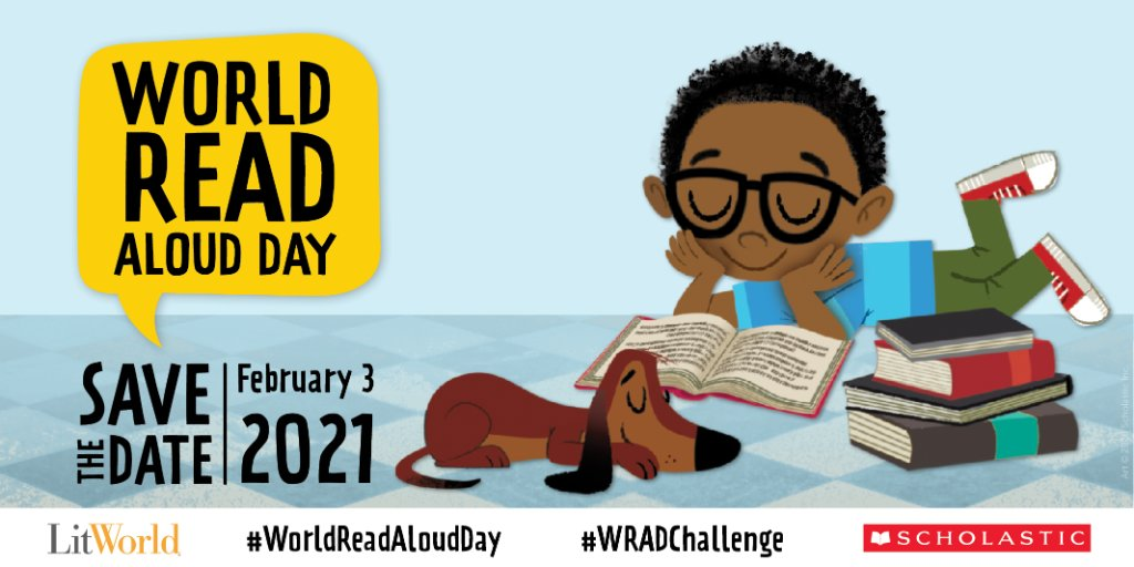 Save the date: World Read Aloud Day is coming on February 3. Get ready to take part in the all day celebration with your favorite read aloud. Learn more here: bit.ly/2LpDeTQ and use #WorldReadAloudDay to tell which story youll be reading aloud! @litworldsays