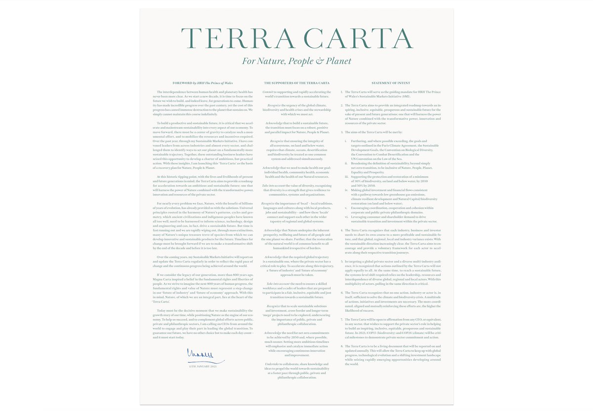 Designed by by Sir Jony Ive and his new team at Love From, the #TerraCarta has already been signed by CEOs from around the world, committing to making Nature the engine of global economies. Find out more here: https://t.co/ZpIkP9Ds9M https://t.co/U6caa3Jc6J