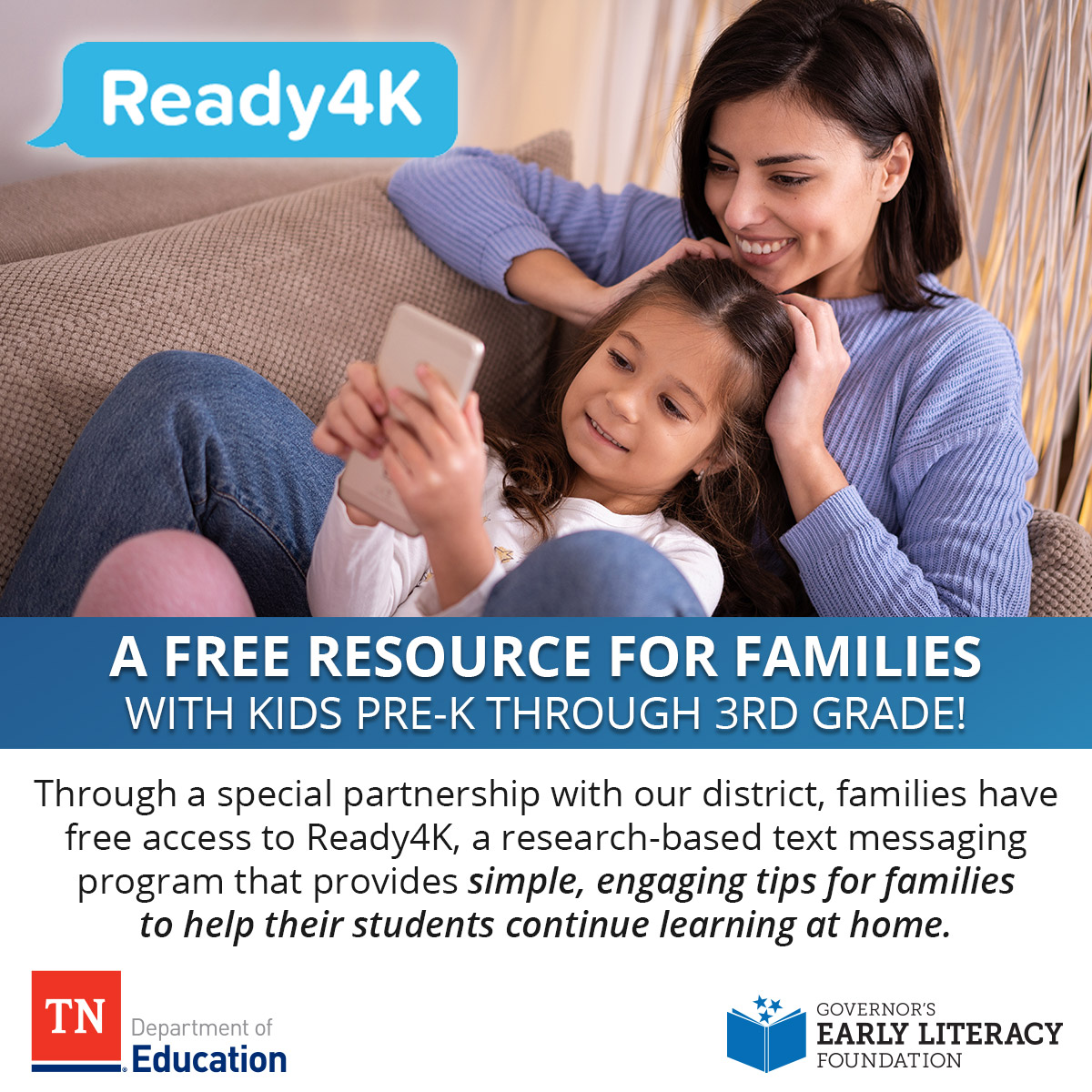 All HCS families with students in pre-K through 3rd grade will begin receiving weekly tips and activities from @Ready4K to support your child's learning. We are thrilled to offer this free, evidence-based family curriculum thanks to @TNedu and @GovLiteracyTN.