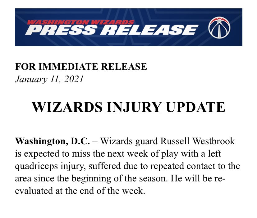 Washington will be without Russell Westbrook for the next week, per the team. The Wizards play four games over that span.  #DCAboveAll schedule: Mon vs. Suns (1/11) Wed vs. Jazz (1/13) Fri at Pistons (1/15) Sun vs. Cavs (1/17) (The Wizards also play the Cavs on MLK Day, 1/18) https://t.co/2i9z8drZXS