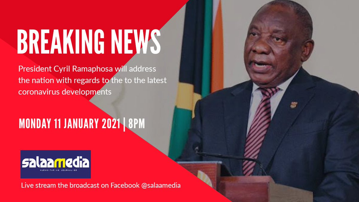 Breaking News: President Cyril Ramaphosa will address the nation tonight at 8pm with regards to the latest coronavirus developments   What are you expecting from the address this evening?  #PresidentCyrilRamaphosa #COVID19 https://t.co/wHpgP19JC9