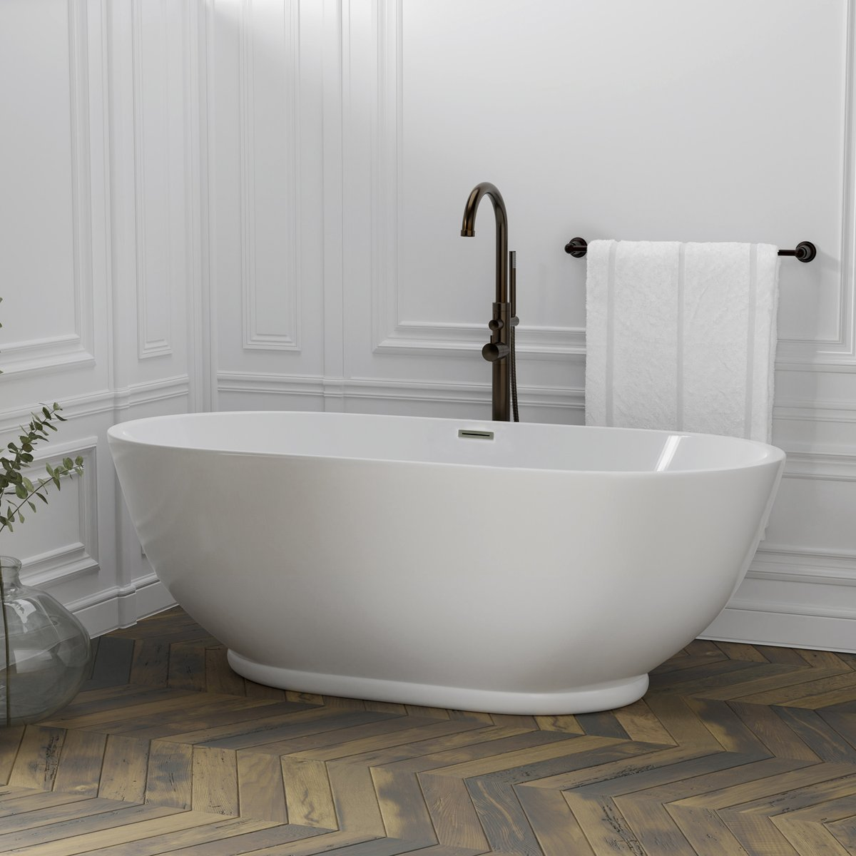 Our double-ended Radcliff features a modern design in easy-care acrylic. Please choose from our array of vintage tub fillers to complete your ensemble.    #SundayThoughts #interiordesign  #moderndesign #homedecor #homedesign #bathroomdesign  #bathroomdecor
