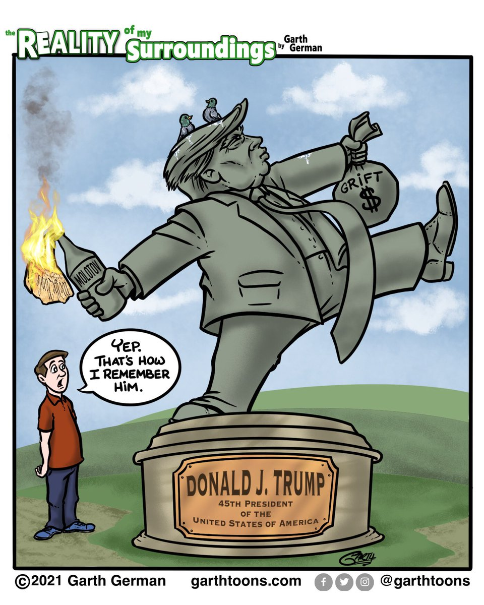 Since statues are allegedly so important for us to remember history, let's be sure to capture the true Trump legacy.   Follow for more cartoons! #trumplegacy #TrumpInsurrection #TrumpCoupAttempt #TrumpIsNotWell #ImpeachTrumpNow #comics #webcomic #webcomics #cartoon