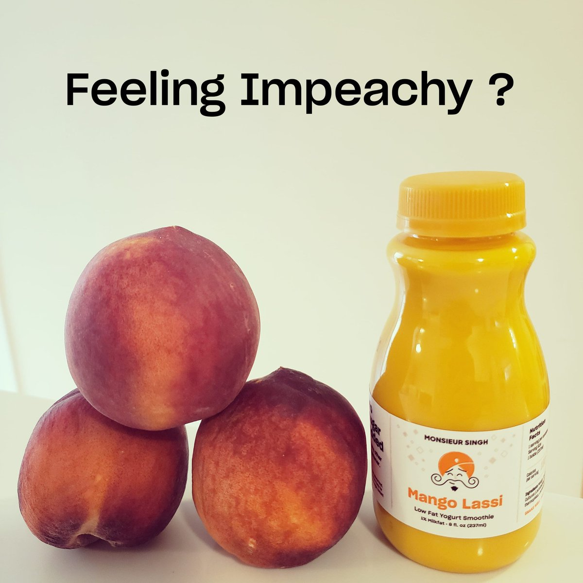 Very very tasty Mango Lassi with no added sugar for that impeachy feeling 🍑  #lassi #mangolassi #singh #monsieursingh #monsieursinghlassi #tastyandhealthy #deliciousandnutritious #healthyandhappy #impeachtrump #25thamendment #impeachment #impeachtrumpnow #ImpeachandRemove