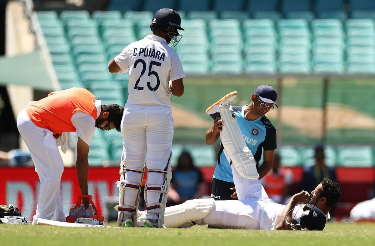 Fantastic fight by Pujara, Pant, Ashwin and most importantly the wounded fighter @HanumaVihari. Vihari has shown loads of character by fighting it out in the middle with a smile on his face at all times.