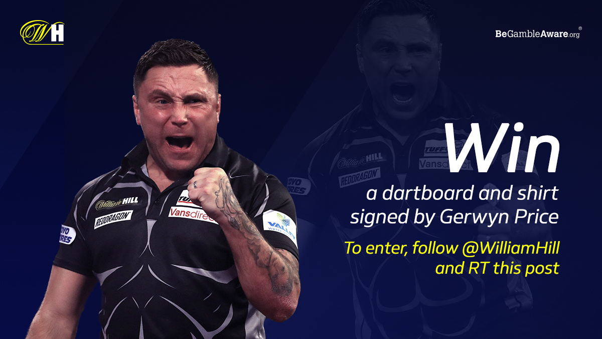 🎯 Win a dartboard and shirt signed by #WHDarts World Champion @Gezzyprice  🤞 To enter, follow William Hill and RT this post  Terms 👉