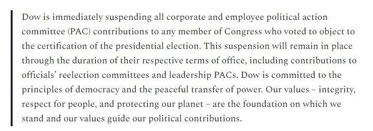 UPDATE: Dow (@DowNewsroom), the massive chemical company, tells me it will not donate to any member of Congress that objected to the certification of the presidential vote  This is not a pause. The company won't donate to these Republicans ever again.  https://t.co/r4Z4TjJUCe https://t.co/LqUaadFyiQ