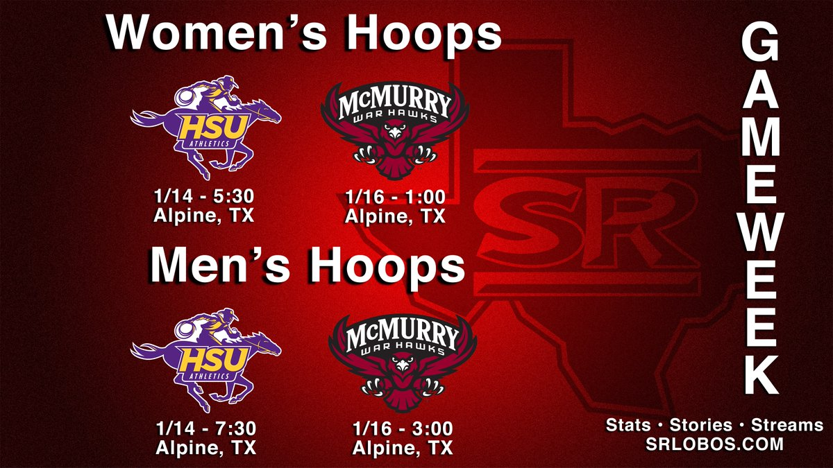 Nothing but conference games this week for basketball as the Gallego Center plays host!  @sulstatewbb @SRSU_MBB   #SRSU #ASChoops #d3hoops