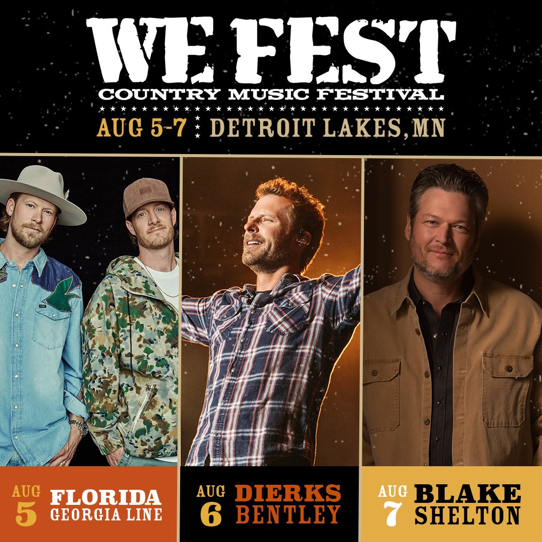 WE Fest returns to the legendary Soo Pass Ranch Aug. 5-7!  Featuring @floridageorgialine, @dierksbentley, @blakeshelton, & many more tba!  Grab your passes this Fri., Jan. 15 @ 10 AM CST.  Link to sign up for presale info + fest updates here: