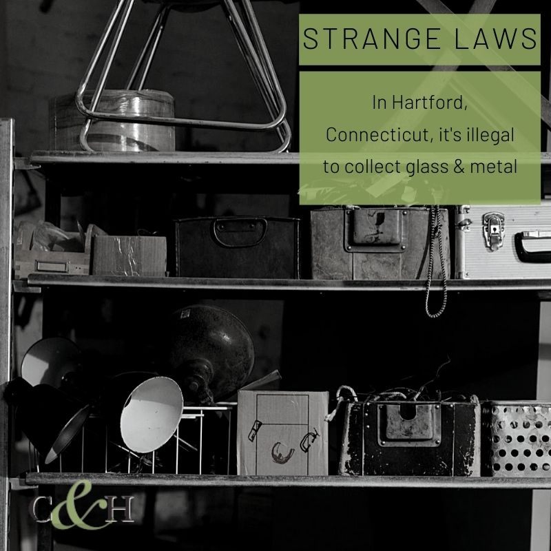 """Love thrifting? Steer clear of #HartfordCT — it's illegal to collect certain types of """"waste"""", like glass and metal! #WeirdLaws"""