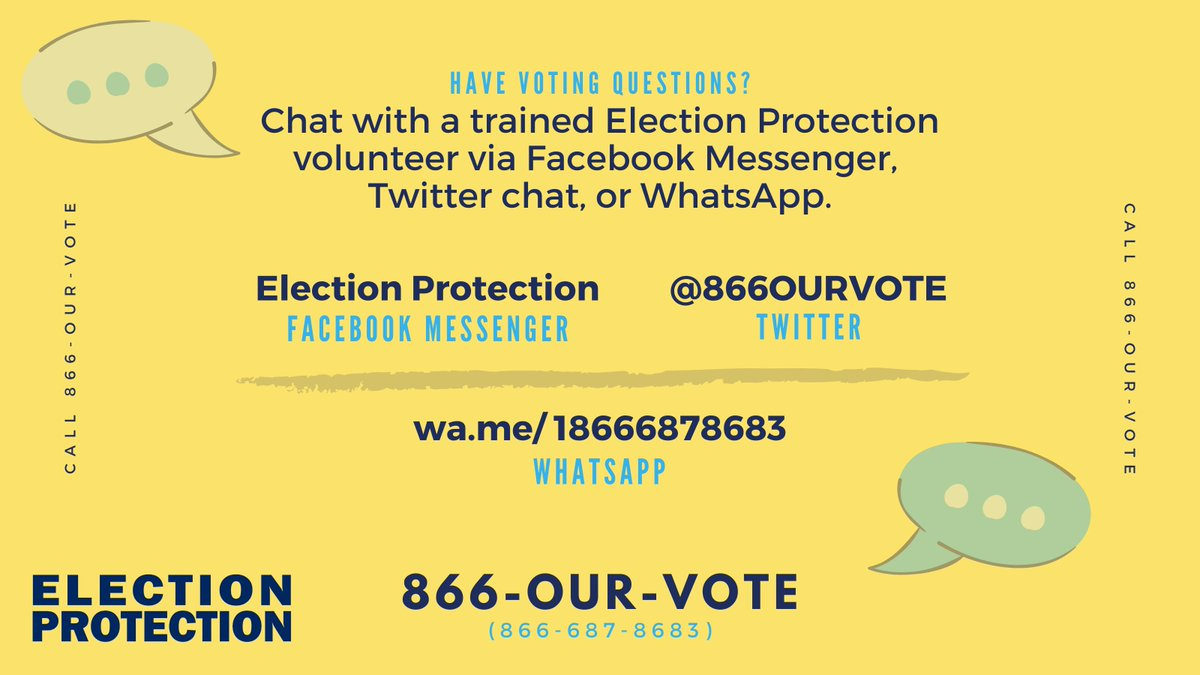 The #ElectionProtection hotline will continue to take calls, texts, and chat messages from 10am-6pm ET. Chat with a trained, non-partisan volunteer Monday - Friday on Twitter, Facebook, or What's App. #ProtectOurVote