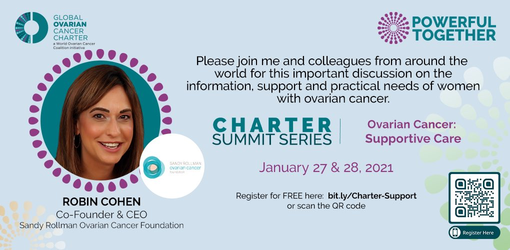 .@srocf is delighted to be part of this Global #OvarianCancer Charter Summit event looking at information, support & practical needs of women living with ovarian cancer. I'll be part of a panel discussion on 1/27 looking at access & best practice from around the world. Join us!