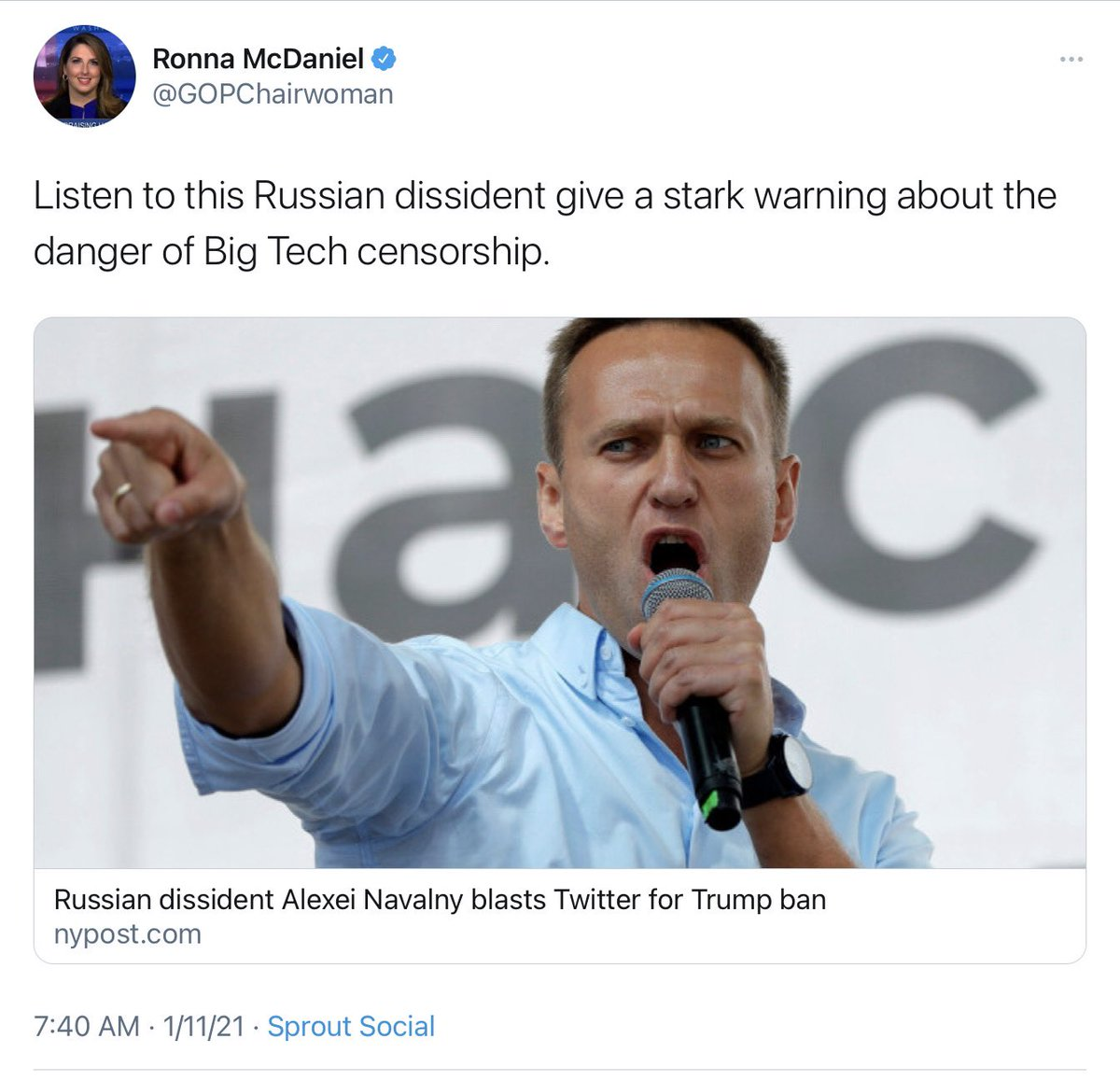 Russian activist survives murder attempts @GOP - <crickets>  Russian bounties for murder of US troops @GOP - <crickets>  Russian activist criticized US tech company @GOPChairwoman - LISTEN TO HIM!!!!  @GOP - caring more about lost Twitter followers than lost lives.
