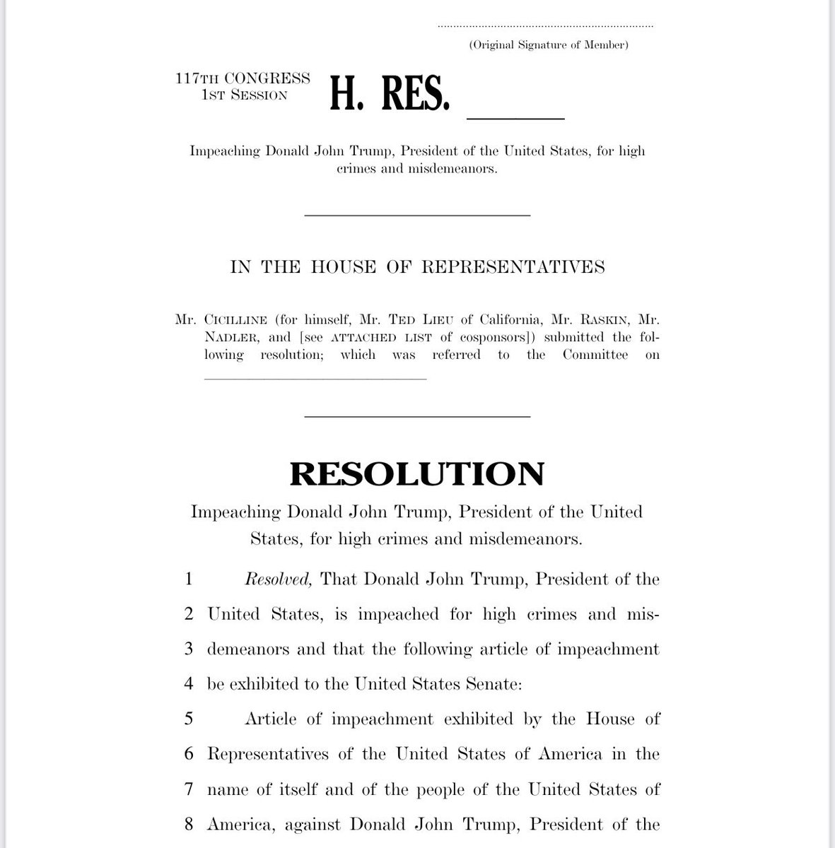 House Democrats introduce an article of impeachment charging Trump with incitement of insurrection
