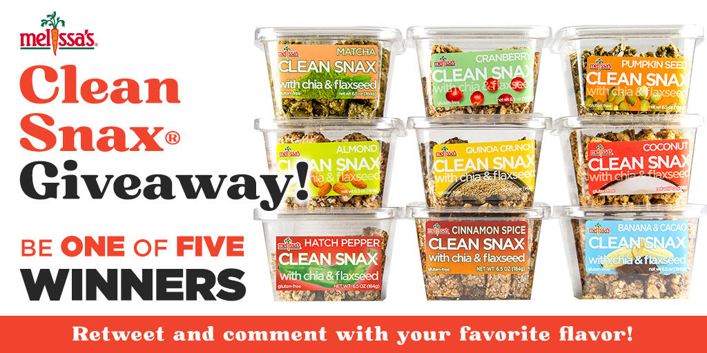 🎉 CLEAN SNAX® GIVEAWAY 🎉  Enter to Win: 1. FOLLOW on IG:  2. RETWEET this post and REPLY with your favorite Clean Snax® flavor!  Five winners will be selected at random on 1/15/21